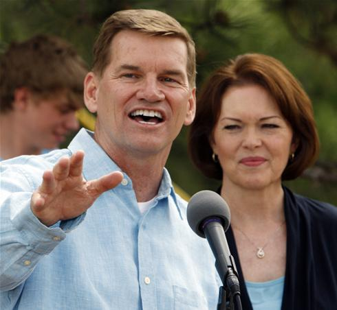 Ted Haggard, with his wife Gayle at his side, talks about the church that he is starting up during a news conference at their home in Colorado Springs, June 2.