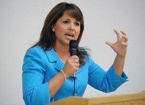 Christine O'Donnell addresses the crowd during meeting of the '9/12 Delaware Patriots' at the Bowers Beach Fire Hall, September 1, 2010, in Bowers, Delaware. (Gary Emeigh/MCT)