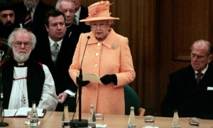 The Queen speaking to synod today, flanked by the archbishop of Canterbury, Rowan Williams, and the Duke of Edinburgh.