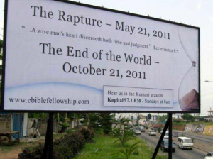 Picture of one of Camping's billboards, courtesy of the Friendly Atheist