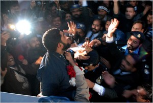 Malik Mumtaz Qadri, the suspected killer of a Pakistani governor, shouted to supporters as he left court on Wednesday in Islamabad. Mohammad Riazur Rehman/Associated Press