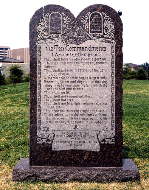 Ten Commandments monument in Texas