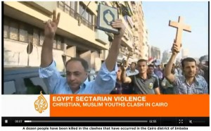 Egypt sectarian violence / Christian, Muslim youths clash in Cairo / A dozen people have been killed in the clashes that occurred in the Cairo district of Imbaba (Aljazeera)