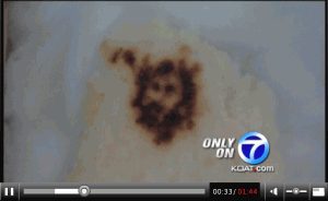 Screen shot of video report by KOAT-TV, 'Jesus in Tortilla?'