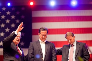 Lauren Lancaster / Time / Greenwell Baptist Pastor Tony Perkins, right, and Pastor Dennis Terry, left, pray for Republican Presidential candidate Rick Santorum's campaign at Greenwell Springs Baptist Church in Greenwell Springs, Louisiana, March 18, 2012.
