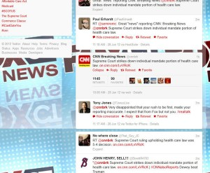 Hartford Courant / Photo page / CNN Breaking News tweets 'Supreme Court strikes down individual mandate portion of health care law'