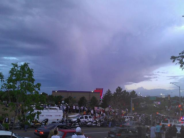 'Angel' in clouds above Century 16 theater, Aurora CO / Crystal Fuller, via KMGH-TV