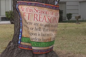KLTV-TV / Freedom From Religious Foundation banner, in Henderson county Texas