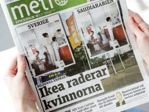 Today's issue of the Swedish daily Metro shows images from Swedish and Saudi Arabian IKEA catalogs for next year in which women have been deleted from identical photos. (Photo: Henrik Montgomery, AP, via USA Today)