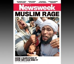 Newsweek's 'Muslim Rage' cover photo, via the Los Angeles Times