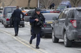 Maryland State Police patrol the Columbia Mall after a fatal shooting on Saturday in Columbia, Maryland. Three people were killed in a shooting at the shopping mall, located about 45 minutes outside Washington. Jim Watson/AFP/Getty Images, via the Washington Post