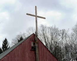 The cross that for decades was lit for Christmas at Happy Acres Farm has been moved to private property down the road at Judd's Construction. Sherman officials said it was inappropriate to send a religious message with the cross now that the town owns Happy Acres. Monday, Dec. 22, 2014. Photo: Carol Kaliff, via the Connecticut Post