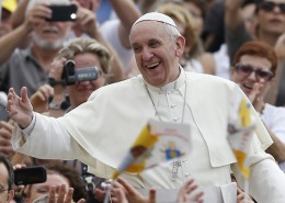 Pope Francis greets the crowd as he arrives to lead his general audience in St. Peter's Square at the Vatican on Sept. 11, 2013. Photo by Paul Haring/Catholic News Service / via Religion News Service