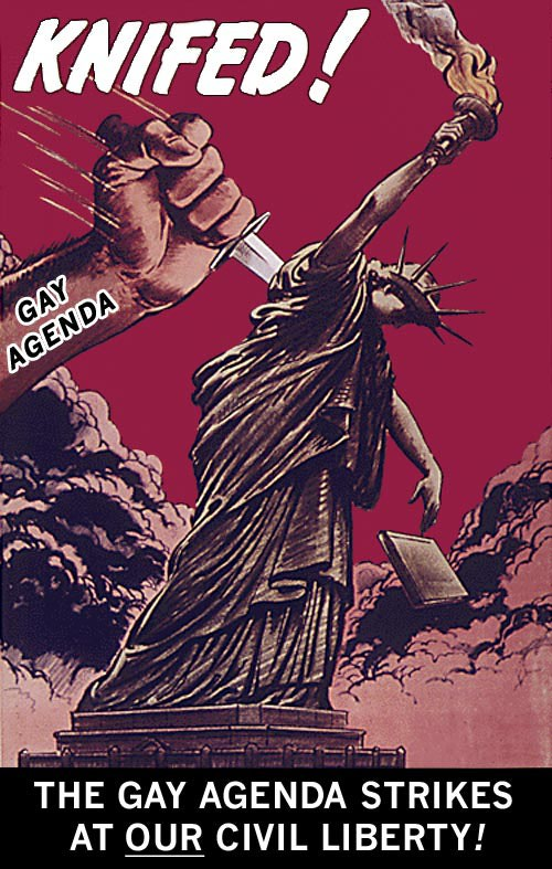Christian Right Propaganda Posters / Gay Agenda vs. Civil Liberty: Radical Homosexual Lobby is a Threat to Religious, Civil Liberty in America. Image © Austin Cline, Licensed to About; Original Poster: National Archives