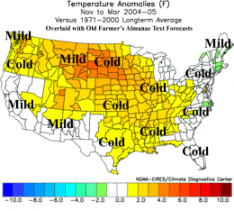 Observed departure of temperature from average for the period Nov. 2004-Mar. 2005. Superimposed in bold text is the winter forecast made in the 2004 Old Farmer's Almanac for the same period. The Almanac got four regions correct and eight incorrect, with two too close to call. / NOAA-CIRES & Climate Diagnostic Center, via Weather Underground