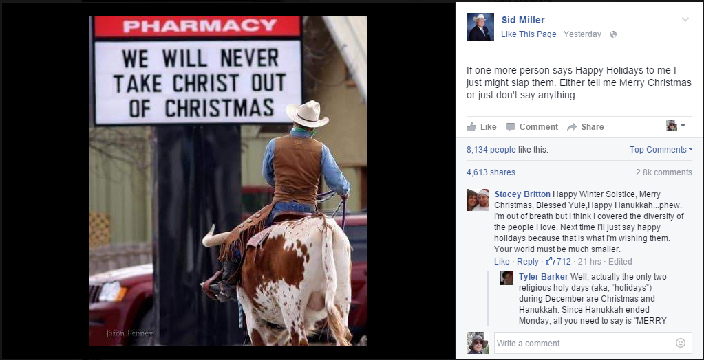 Sid Miller, Texas Ag Commissioner, posting on Facebook