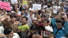Protests such as this one in Lahore took place in several major cities / AFP/Getty photo, via BBC News