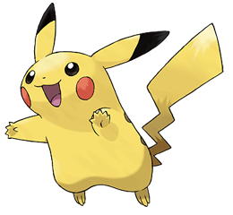 A PNG image of Pikachu, arguably the most recognisable Pokémon.