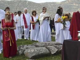 The Supreme Council of Ethnic Hellenes Spring Equinox ritual at an ancient temple of Goddess Artemis in Peloponnese, Greece, in March 2016. Photo courtesy of Creative Commons / via Religion News Service