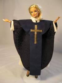 (RNS3-APR05) The Rev. Julie Blake Fisher, an Episcopal priest in Kent, Ohio, created 'Episcopal Priest Barbie High Church Edition' for a friend, the Rev. Dena Cleaver-Bartholomew, when she got her first pulpit assignment in Manlius, N.Y. For use with RNS-BARBIE-PRIEST, transmitted April 5, 2010. RNS photo courtesy the Rev. Julie Blake Fisher.