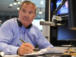 Former Connecticut Gov. John Rowland fills in as a talk show host on WTIC AM radio in Farmington, Conn. (AP Photo/Jessica Hill), via the Register-Citizen