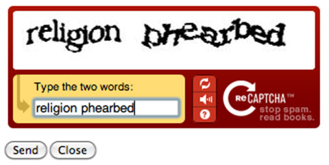 ReCAPTCHA: 'religion phearbed' (enlarged)