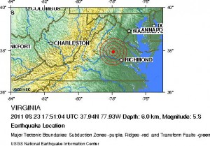Earthquake Location, Magnitude 5.8 VIRGINIA, 2011 August 23 17:51:04 UTC / USGS