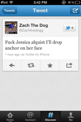 Screen shot of Zach the Dog (@Zachthedogg) tweet: 'Fuck Jessica alquist I'll drop anchor on her face'