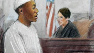 In a courtroom sketch, Umar Farouk Abdulmutallab, the man who tried blowing up a Northwest Airlines flight on Christmas Day 2009 is sentenced to life in prison by U.S. District Judge Nancy Edmonds in federal court in Detroit, Thursday, Feb. 16, 2012. (AP Photo/Jerry Lemenu)