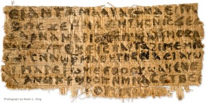 Photograph by Karen L. King, via the New York Times (see URL http://www.nytimes.com/2012/09/19/us/historian-says-piece-of-papyrus-refers-to-jesus-wife.html?pagewanted=all)