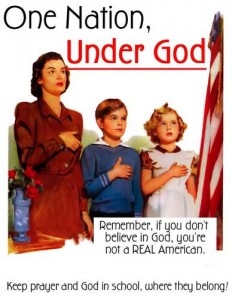 'One Nation, Under God: Remember, if you don't believe in God, you're not a REAL American. Keep prayer and God in school, where they belong!' / Image © Austin Cline, Licensed to About; Original Poster: University of Georgia