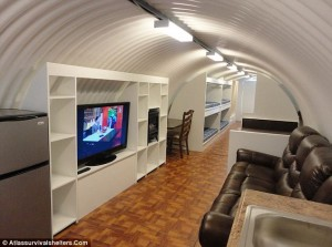 Practical: The bunkers have escape tunnels with one sided hatches which can only open from the inside, as well as sealed contamination rooms between the entrance and living areas / Atlassurvivalshelters.Com, via (UK) Daily Mail.