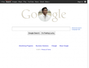 Google Web site, showing Google doodle honoring the 86th birthday of the late activist Cesar Chavez (3/31/2013)