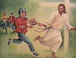Jesus playing football, via The Biblical World