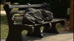 'Homeless Jesus' by Timothy P. Schmalz / photo by WCNC-TV