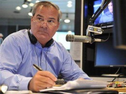 Former Connecticut Gov. John Rowland fills in as a talk show host on WTIC AM radio in Farmington, Conn., Friday, July 2, 2010. (AP Photo/Jessica Hill), via New Haven Register