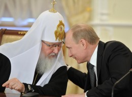 Patriarch Kirill, pictured with Russian President Vladimir Putin, claimed he was not surprised that 'honest' Muslims are flocking to Isis' quasi-religious state / Getty Images, via The Independent