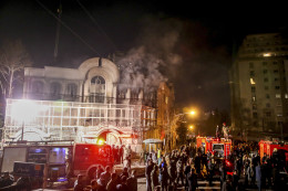 Smoke rises as Iranian protesters set fire to the Saudi embassy in Tehran, Sunday, Jan. 3, 2016. Protesters upset over the execution of a Shiite cleric in Saudi Arabia set fires to the Saudi embassy in Tehran. (Mohammadreza Nadimi/ISNA via AP) / via Washington Post