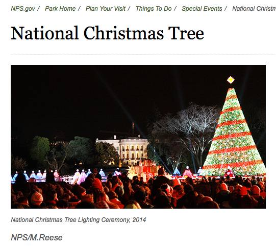 Cropped screen shot of National Christmas Tree Web page at National Park Service (URL: https://www.nps.gov/whho/planyourvisit/national-christmas-tree.htm)