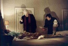 Linda Blair, Max von Sydow, and Jason Miller in The Exorcist (1973) / via IMDB