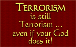 'Terrorism is still terrorism … even if your God does it!' / PsiCop original graphic